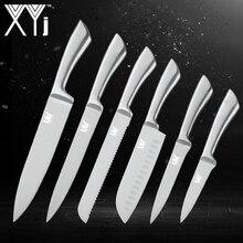 XYj 6 шт. нержавеющей Кухня Ножи комплект 7Cr17mov высокой твердостью Нержавеющаясталь Кухня шеф-повара нож набор профессиональных Пособия по кулинарии инструменты