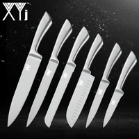 XYj 6PCS Stainless Kitchen Knife Set 7Cr17mov High Hardness Stainless Steel Kitchen Chef Knive Set Professional Cooking Tools