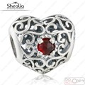2016 Christmas Gift 925 Sterling Silver Openwork January Signature Red Crystal Heart Birthstone Charm Beads Fit Shealia Bracelet