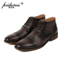 Luxury Designer High Top Outdoor Martin Man Shoes Formal Dress Genuine Leather Round Toe Men's Handmade Riding Ankle Boots SS08