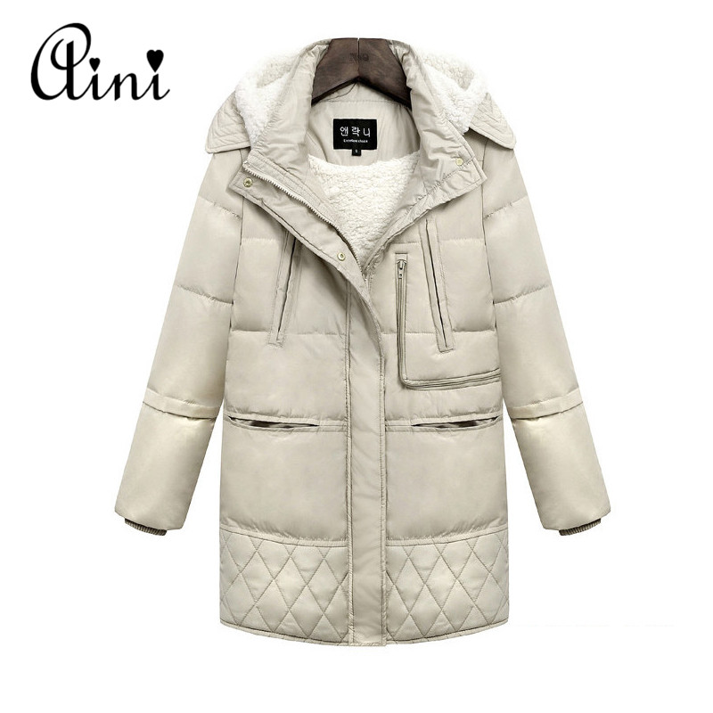 2017 New Winter Women Warm Thicken Padded Jackets Warm Hooded Long Slim Thin Lamb's Wool Solid Jacket Coats Parkas Plus Size 3XL 2017 winter women slim duck down jackets female long hooded coat parkas solid thicken warm casual fashion padded coats plus size