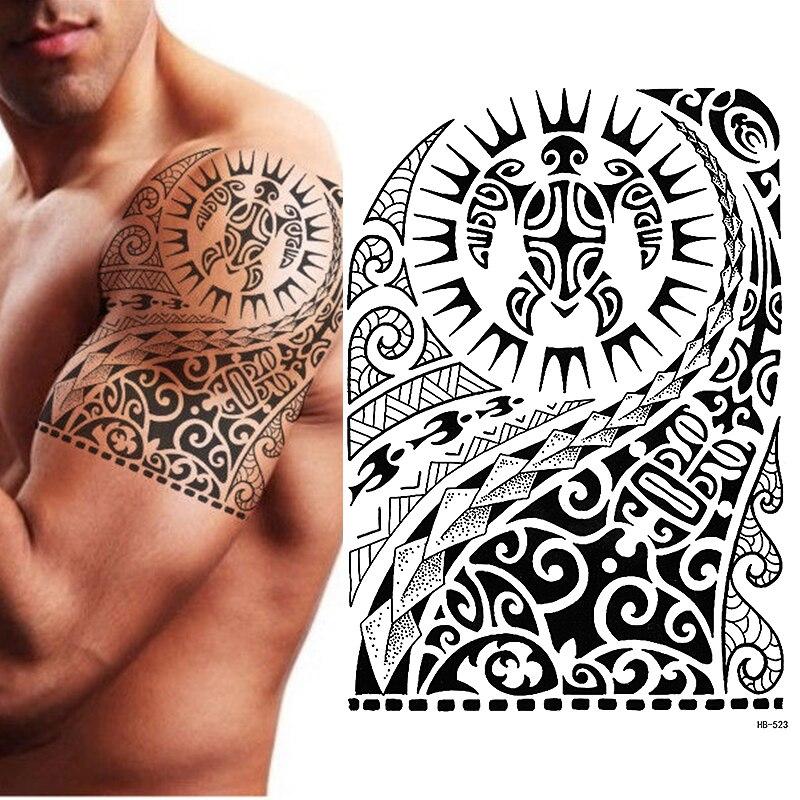 Временная татуировка, черепаха маори, полинезийская, черная, мужская, женская