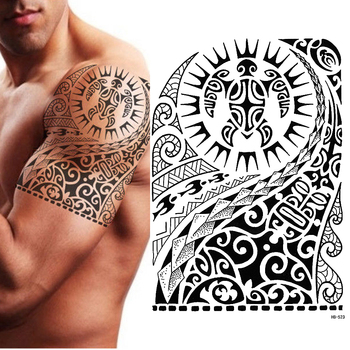 TRIBAL TEMPORARY TATTOO, MAORI TURTLE, POLYNESIAN, BLACK, MENS, WOMENS