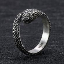 цена на 925 Sterling Silver Snake Skull Gothic Rings For Women and Men Antique Retro Punk Thai Silver Viking Rings Animal Jewelry