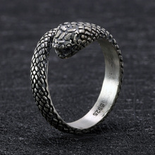 купить Real 925 Sterling Silver Snake Ring Skull Gothic Rings For Women and Men Antique Retro Punk Thai Silver Viking Animal Jewelry дешево
