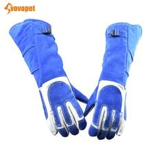 VOVOPET собака кошка анти-укус защитные перчатки s удлинить мягкая кожа утолщаются антиукус перчатки укуса домашних животных устойчивые защитные перчатки
