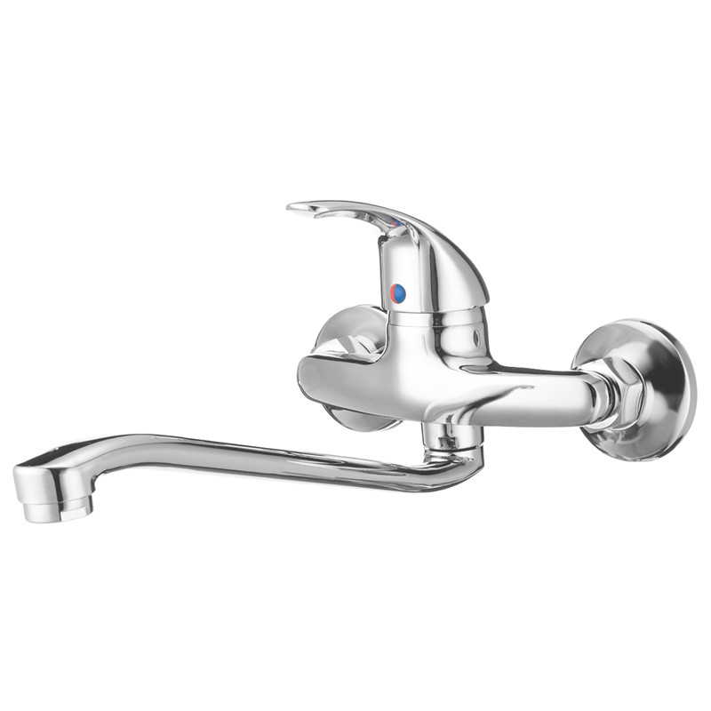 Extended Spout Bathroom Basin Faucet Single Handle Chrome Polished Sink Water Mixer Tap Cold And Hot Wall Mounted FaucetsExtended Spout Bathroom Basin Faucet Single Handle Chrome Polished Sink Water Mixer Tap Cold And Hot Wall Mounted Faucets