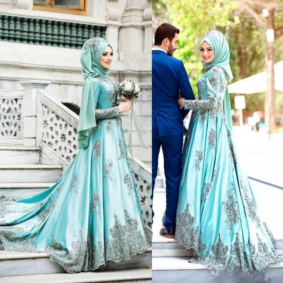 Turquoise Vestido De Noiva 2019 Muslim Wedding Dresses Ball Gown Long Sleeves Lace Beaded Boho Dubai Arabic Wedding Gown Bridal
