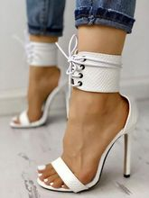 цена на Cut Out Lace Up Thin Heels Sandals Summer Women White Stiletto Heels Shoes Open Toe Leather High Heel Sandals Free Ship