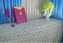 Round Table cloth,various colours rosette embroider table cover,for wedding,party,hotel and restaurant round table
