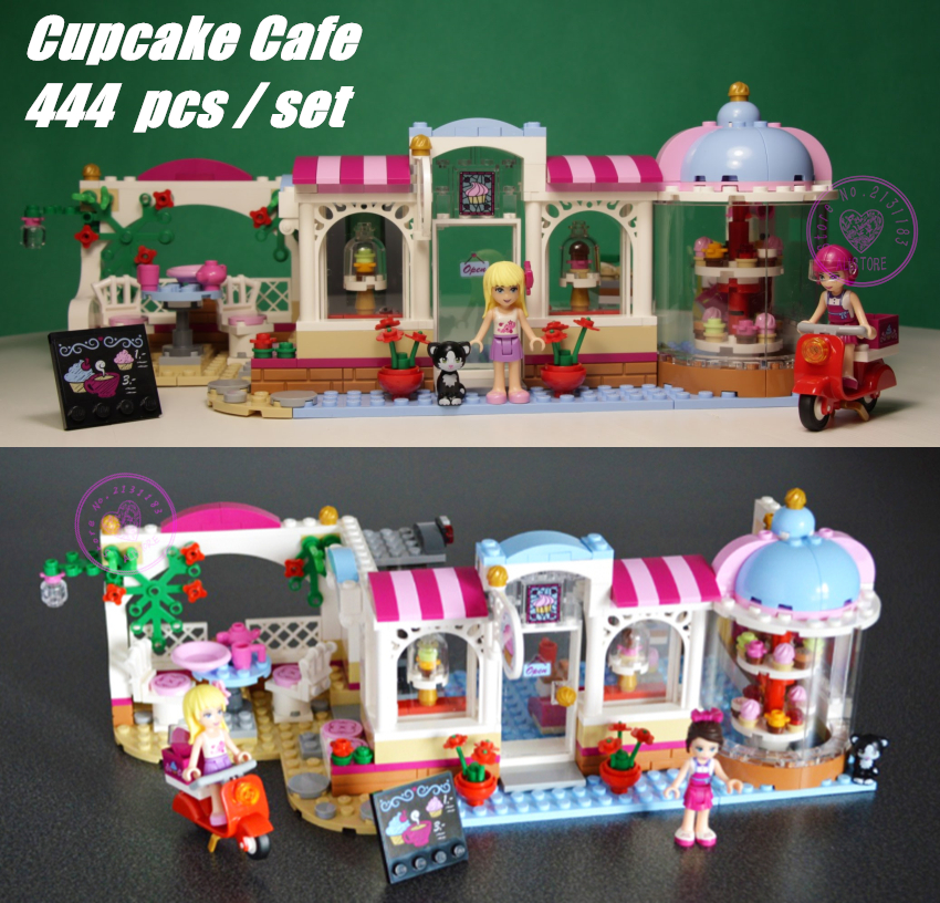 New 10496 Friends Heartlake Cupcake Cafe Building Blocks Set Model Bricks girl Toy 41119 compatible legoes friends gift kids set 2016 bela 10497 10496 10493 girls friends city park cafe building blocks set figures bricks toys 41119