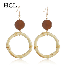 Korean Big Circle Earrings For Women Simple Bamboo festival Round Wood Drop Fashion Statement Jewelry boucle doreille