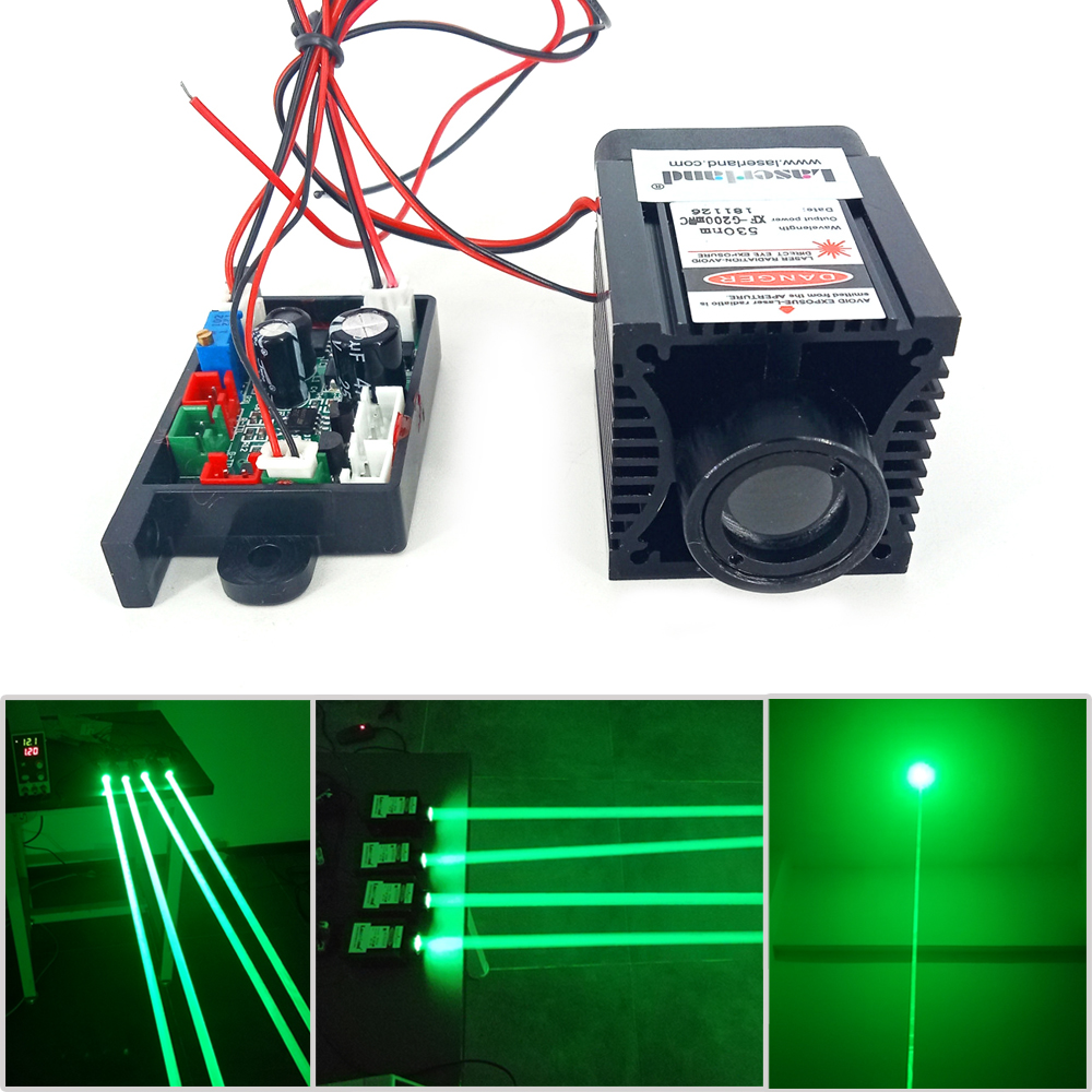 TEC 530nm 200mw Fat Green Diode Laser Module TTL For Stage Lighting Bird Scaring