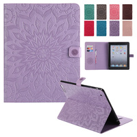 For IPad 2 Case BINUODA Luxury 3D Embossed Floral Leather Kickstand Case Cover For IPad 4