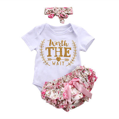 Newborn Baby Girl Summer Clothes Letters Romper Floral Shorts Pink Headband Bodysuit 3Pcs Outfit Sets