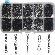 200pcs/box Matt Black Carp Fishing tackle Quick Change Swivels Long Body Rolling Swivels Snap Carp Fishing Accessories
