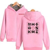 KPOP Monsta x Women Hoodies Sweateshirt Winter Warm Thick Plus Velvet Zipper Hooded Jackets Casual Hoody Outwears Couple Clothes