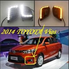 Бампер лампа для 2014 2015 2016 дневной свет Vios дневного света, автомобильные аксессуары светодиодный LED, Vios противотуманных фар, 2 шт./компл., Vios передний свет