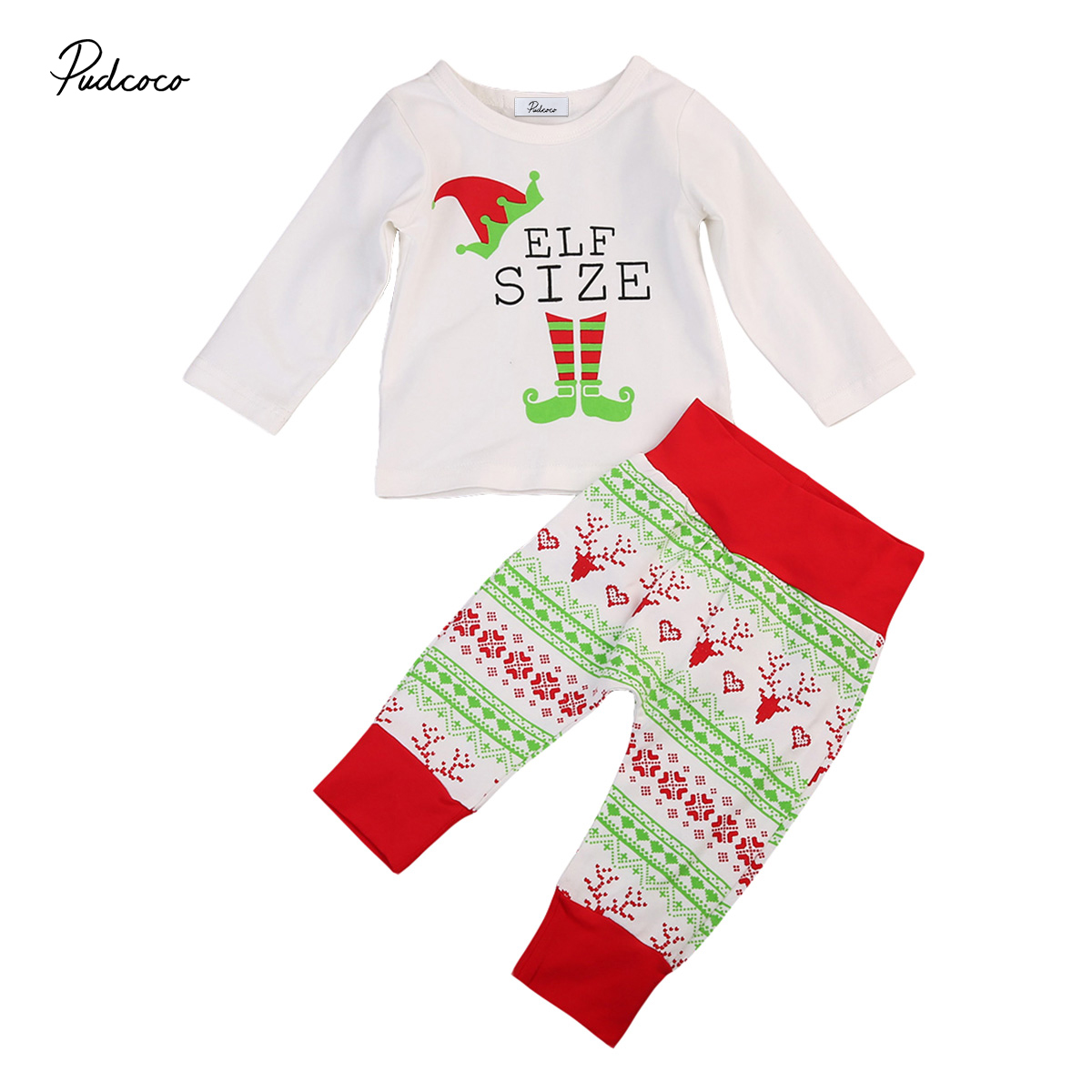 Babies 2PCS Xmas Clothing Set Pjs Sets Cute Infant Baby Boy Girl T-shirt Tops Pants Baby Christmas Outfits Clothes 0-24M
