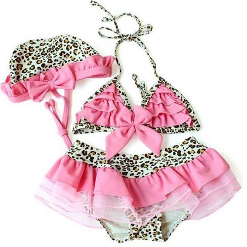 Lace Leopard Bow Baby Swimwear Girl Dress+Hat+Bathing Suit Infantil Bikini For Girls Clothing LP0081