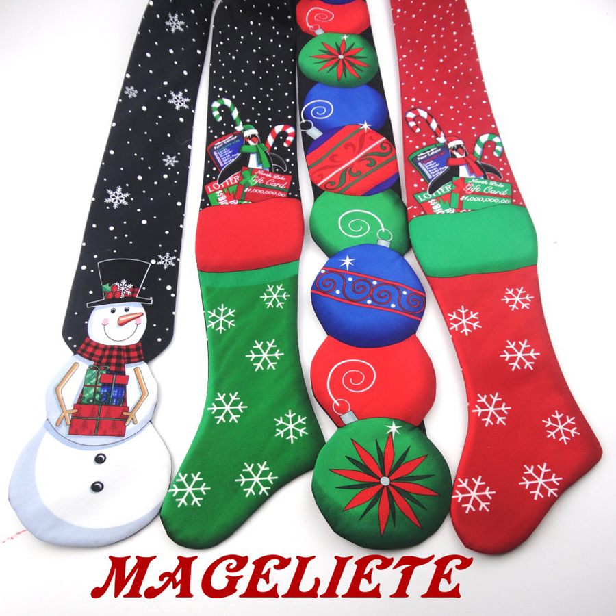 Novelty Christmas Ties Fashion Snowman Penguin Candy Holiday Necktie for Men Party New Year Red Black Green 2017 Irregular Tie