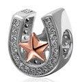 Se adapta a Pandora pulsera chapado en oro Rosa blanca estrella de cinco puntas circón Herradura perlas plata de ley 925 joyería de DIY que hace
