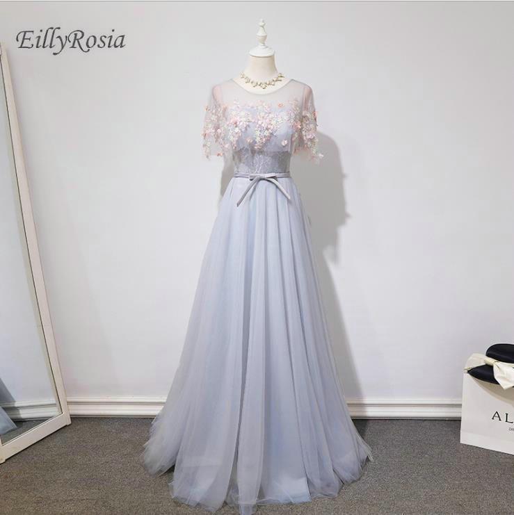 vestido madrinha Tulle Elegant   Bridesmaid     Dresses   with Cape Floor Length A Line Lace Appliques Wedding Party Gowns robe de bal