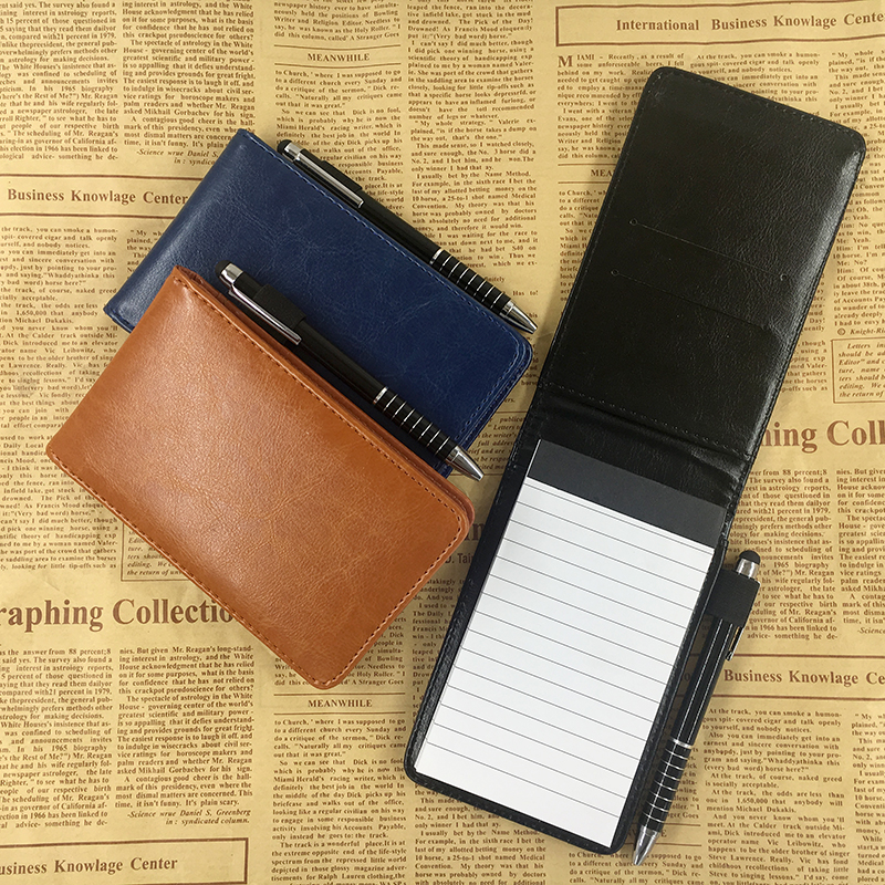 RuiZe Multifunction Small Notebook A7 Planner Leather Pocket Notebook Mini Note Book With Pen Business Office Notepad Stationery
