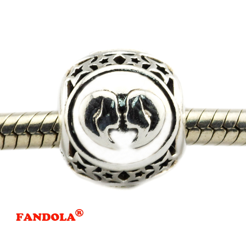 DIY Fits Pandora Bracelets Gemini Star Sign Beads 925 Sterling Silver Jewelry Charms for Women Free Shipping