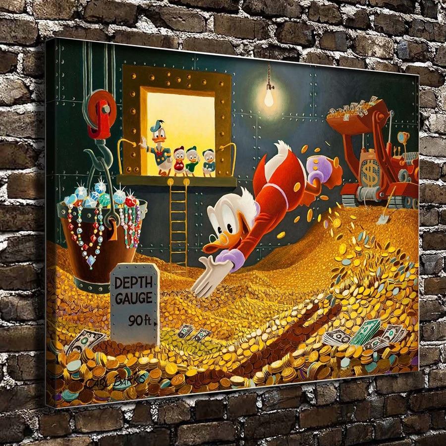 S1344 Donald Ente Scrooge McDuck Cartoon Film, HD Leinwand Drucken Home  Dekoration Wohnzimmer Schlafzimmer Wand Bilder Kunst Malerei