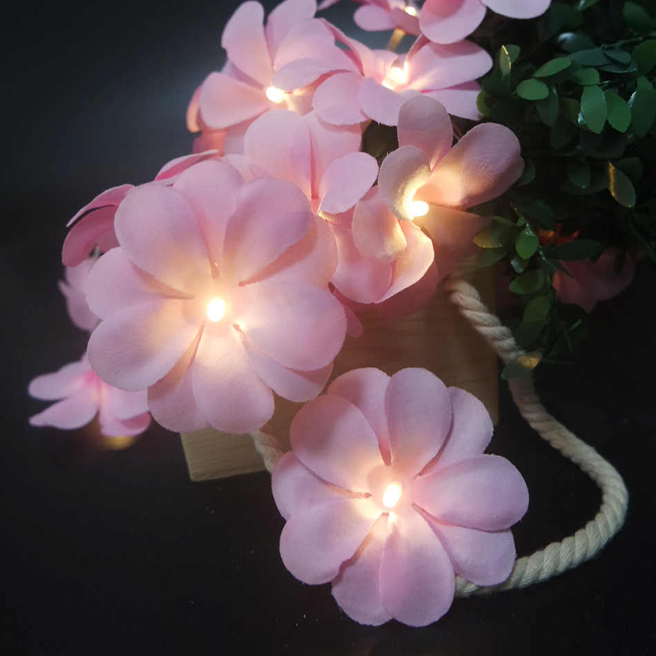 Lovely frangipani LED String Lights 10leds 1.5M, Wedding decoration,Kids home room flower decor. Event Party garland supplies