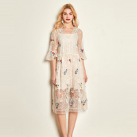 silk dress sunflower 2019 women summer bohemian beach plus size maxi dresses long robe sexy Embroidered white lace loose