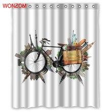 WONZOM Lets Go For A World Trip Curtain with 12 Hooks Bathroom Decor Modern Bath Waterproof Accessories
