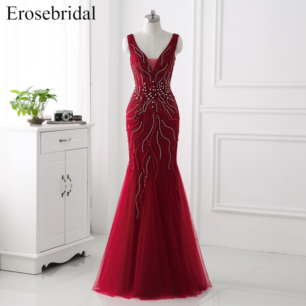 Red 2018   Evening     Dress   Formal Women Wear Erosebridal Beading Prom Party Gowns Long   Dresses   Robe De Mariee Sexy Backless ZCC01