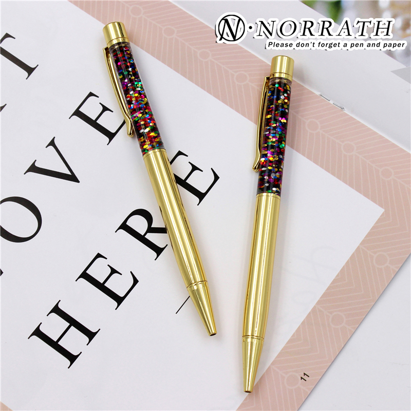 NORRATH Stationery Metal Golden Ballpoint Pen Luxury Gift School Supplies Office Accessories Oily Refill 1.0