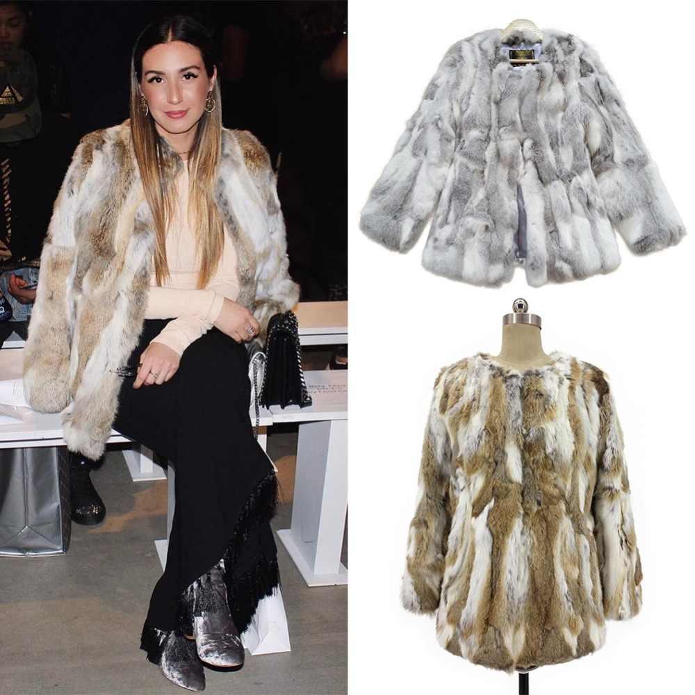 Yeni Kış Moda Moda Gerçek Kürk Ceket Kadınlar Için Adet Doğal Tavşan Kürk Palto Artı Boyutu Hakiki Deri Orta uzun Kürk ceket