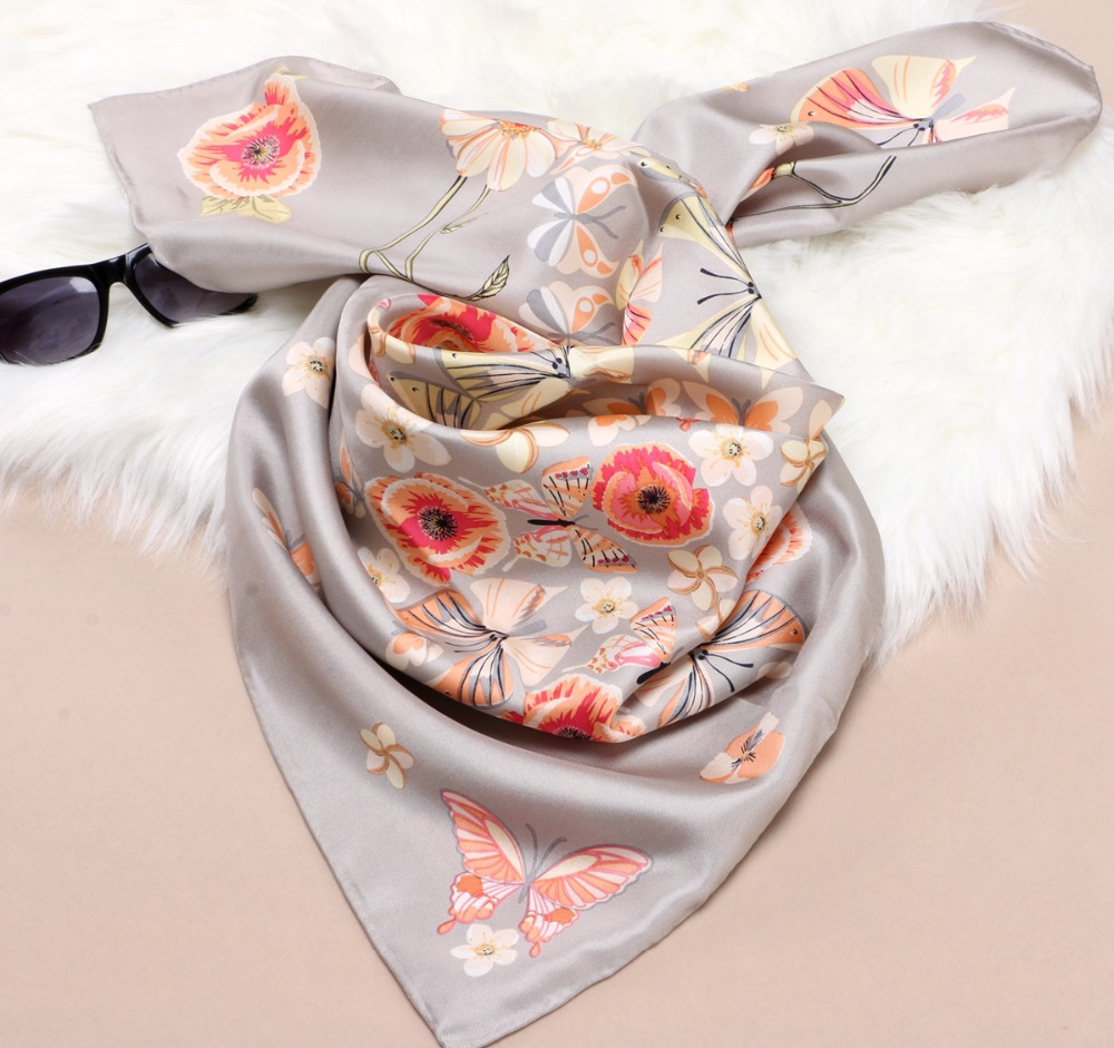 Hand Roll High Quality Large Square Silk   Scarf   Shawl Women Head   Scarves   for Hair Wrapping 100% Silk Twill Scarfs   Wraps   88x88cm