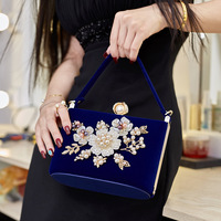 2019 Ladies Velvet Clutch Pearl Crystal Evening Bags Women Velour Party Wedding Hand Bag Bridal Luxury Mini Day Purse Bolsos