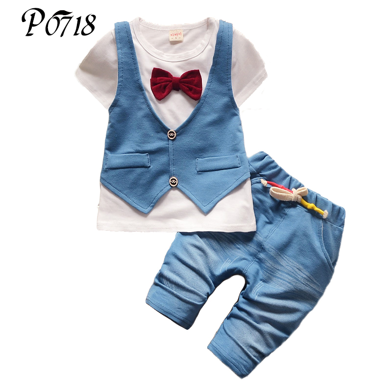 2018 Summer Kids Fake 2pcs Clothes Suits Baby Boys Tie T-shirt Tops + Short Pants Outfit Sets Toddler Gentleman White Blue Sets t shirt tops cotton denim pants 2pcs clothes sets newborn toddler kid infant baby boy clothes outfit set au 2016 new boys