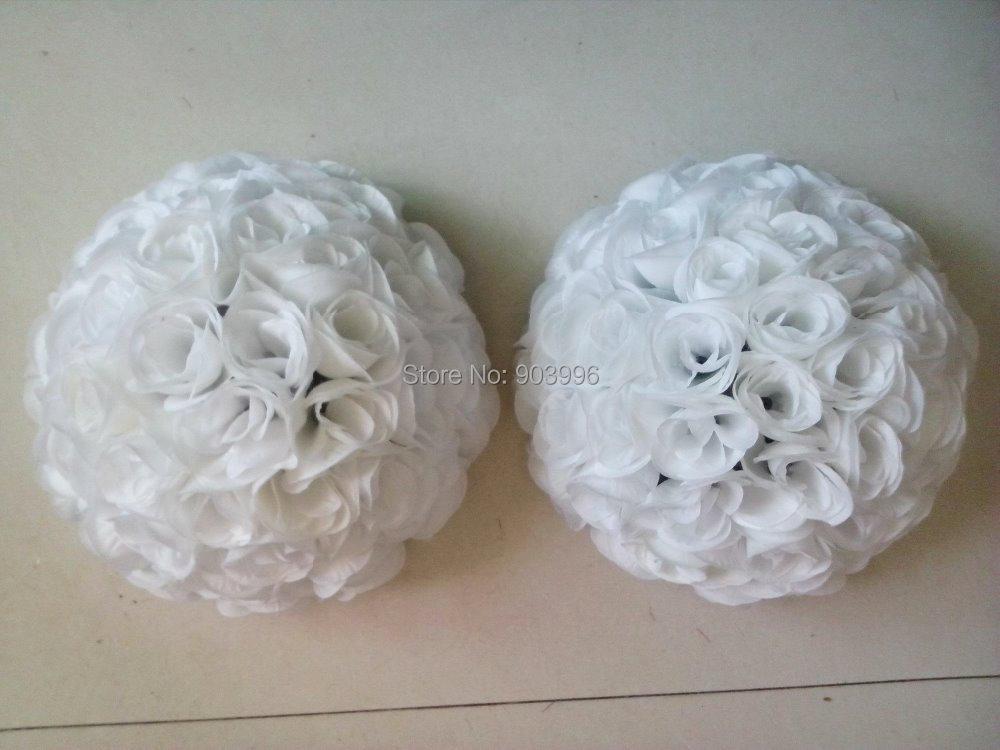 30cm 10pcs / lot HVIT rose ball bryllup blomst ball - Fest utstyr
