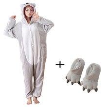 8231d042024480 Fantazyjne pluszowe Koala Kigurumi piżama w zwierzątka body jednoczęściowe  dorosłych Onesie piżamy z kapcie Cosplay body