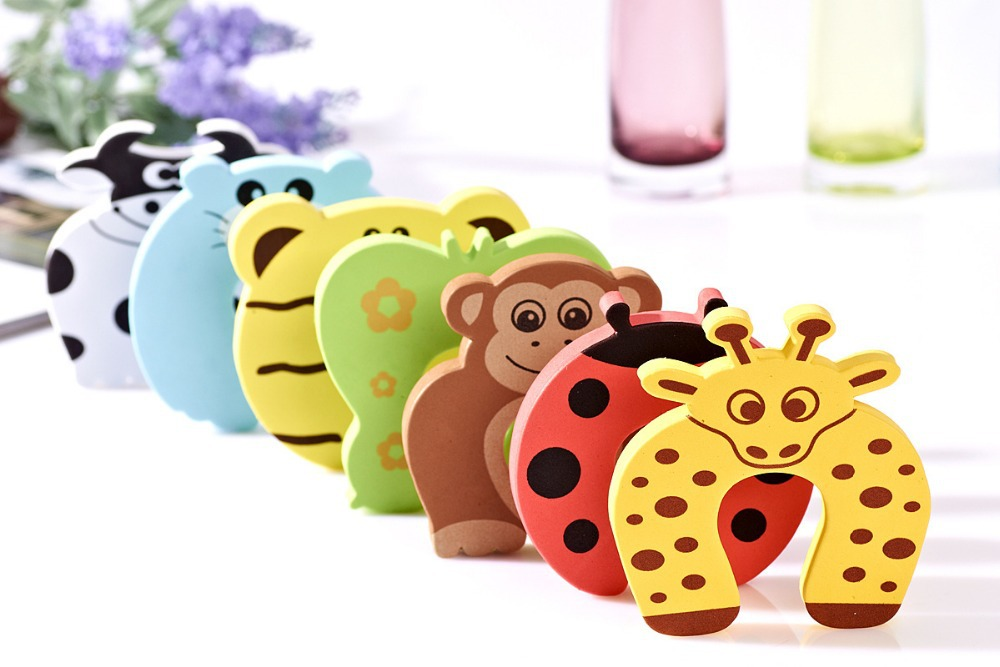wholesale free ship 10pcs/lot Child kids Baby Animal Cartoon Door Jammers Stop stopper holder lock Safety guard Finger atrq0073 new rubber wedge door stop stopper holder safety prevent keep door from slamming safely security gray white free shipping