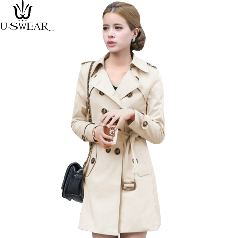 U-SWEAR Trench Coat For Women Double Breasted Slim Fit Long Spring Coat Casaco Feminino Abrigos Mujer Autumn Outerwear