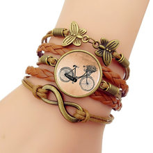 Pulseiras Feminina Bangles New 2019 Simple Fashion Vintage Bike Time Gem Bracelet High Quality Leather Jewelry Accessories(China)