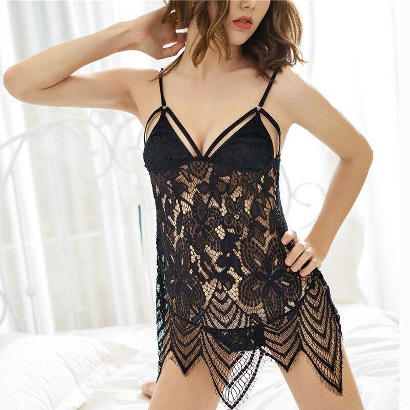 Nett Neue Frauen Sexy Spitze Dessous Feste Nachtwäsche Nachtwäsche Babydoll Nachtwäsche Kleid Damen-nachtwäsche Unterwäsche & Schlafanzug