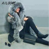 AILOOGE 2017 Ciepłe Istny Fox Fur Collar Płaszcz Zimowy Kobiety nowy Europejski Styl Kurtka Zimowa Kobiety Dół Kurtki Parka Zima kobiet