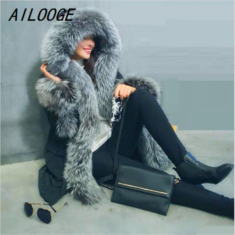 AILOOGE 2017 Warm Real Fox Fur Collar Winter Coat Women New European Style Winter Jacket Women Down Jacket Parka Winter Female 2017 winter new clothes to overcome the coat of women in the long reed rabbit hair fur fur coat fox raccoon fur collar