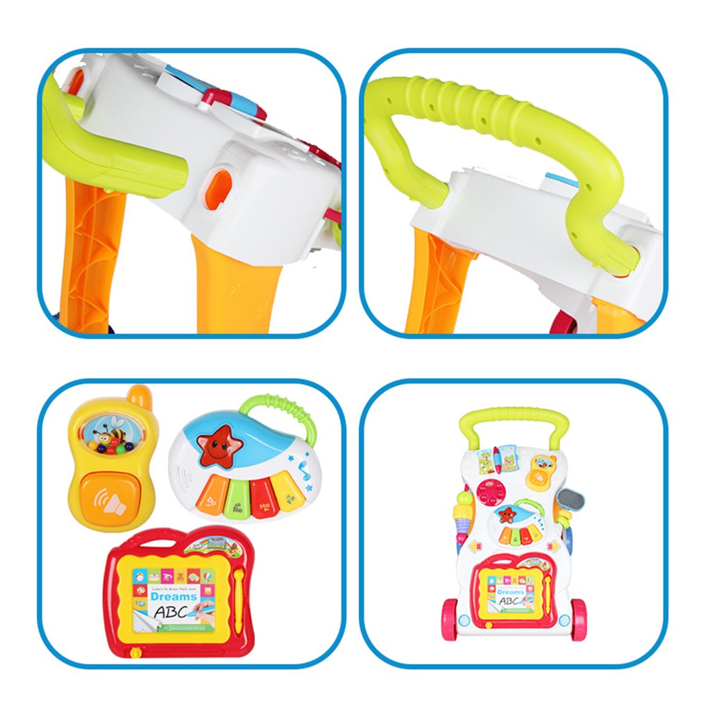 Baby Walker Baby First Steps Car Toddler Trolley Sit-to-Stand Walker for Kids Early Learning Educational Musical Adjustable H