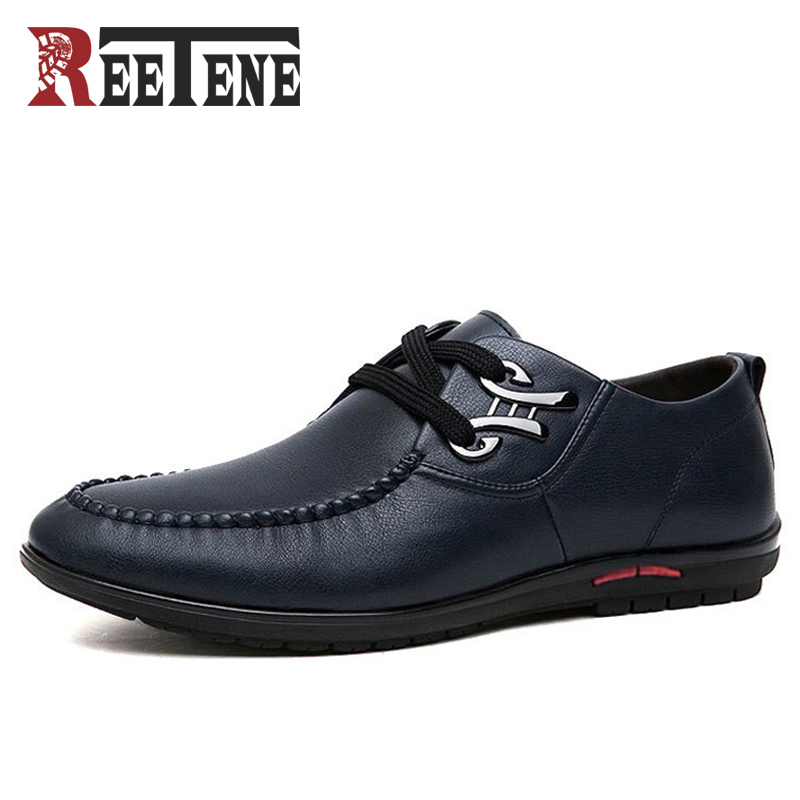 REETENE Brand Fashion Men Casual Shoes High Quality PU Leather Shoes Men Breathable Flat With Men Shoes Driving Shoes new 2015 spring brand camel fashion leisure men low flat wear resisting high quality leather high end shoes with box