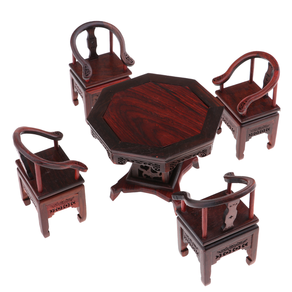 5Pcs Dollhouse 1/6 Scale Miniatures Furniture Rosewood End Table Tea Table w/ Armchair Set 1 6 scale white end table tea table furniture for barbie blythe licca azone dolls 12 action figure accessories